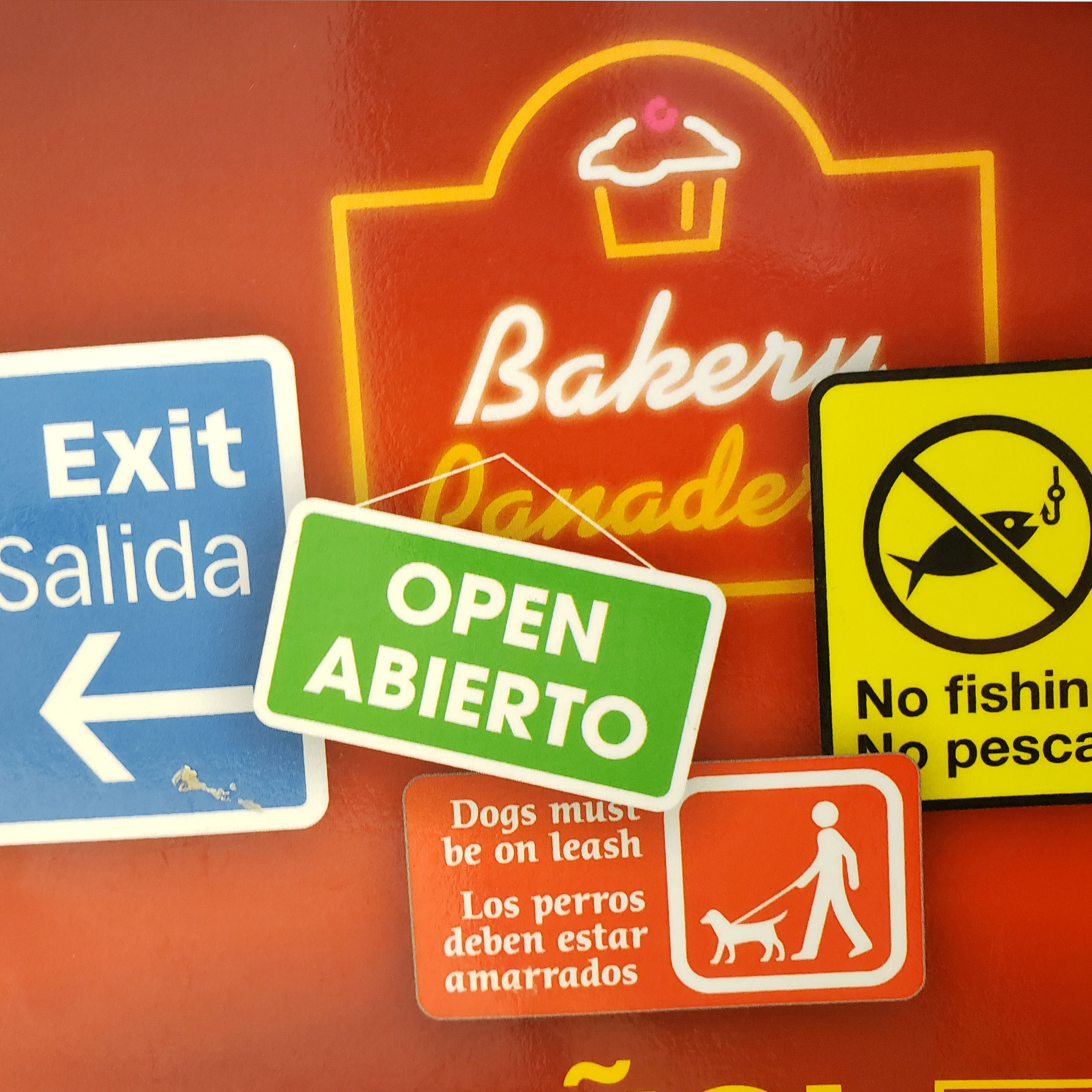 Various signs in Spanish