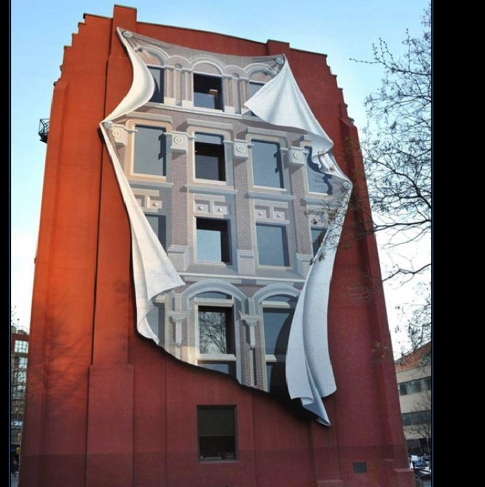 Art in façade of Gooderham building by Spanish artist
