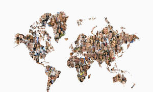 World Map made up of  faces from people of different races and ethnicities