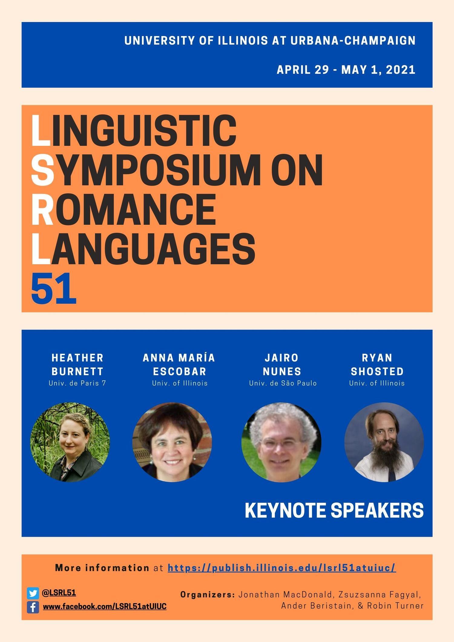 Uiuc Spring 2021 Calendar Linguistic Symposium on Romance Languages (LSRL 51) at UIUC in